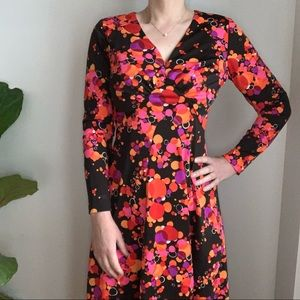 Vtg Maxi Dress Handmade Long Sleeves Multicolored
